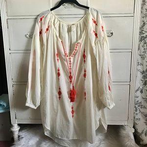 H&M / White Linen Embroidered Dress / SZ 8